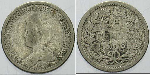 25 Cent 1916 Niederlande-Königreich Wilhelmina I. 1890-1948. Schön - sehr schön