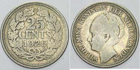 25 Cent 1926 Niederlande-Königreich Wilhelmina I. 1890-1948. Sehr schön