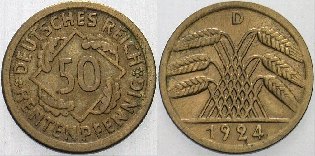50 Rentenpfennig 1924 D  Sehr schön +