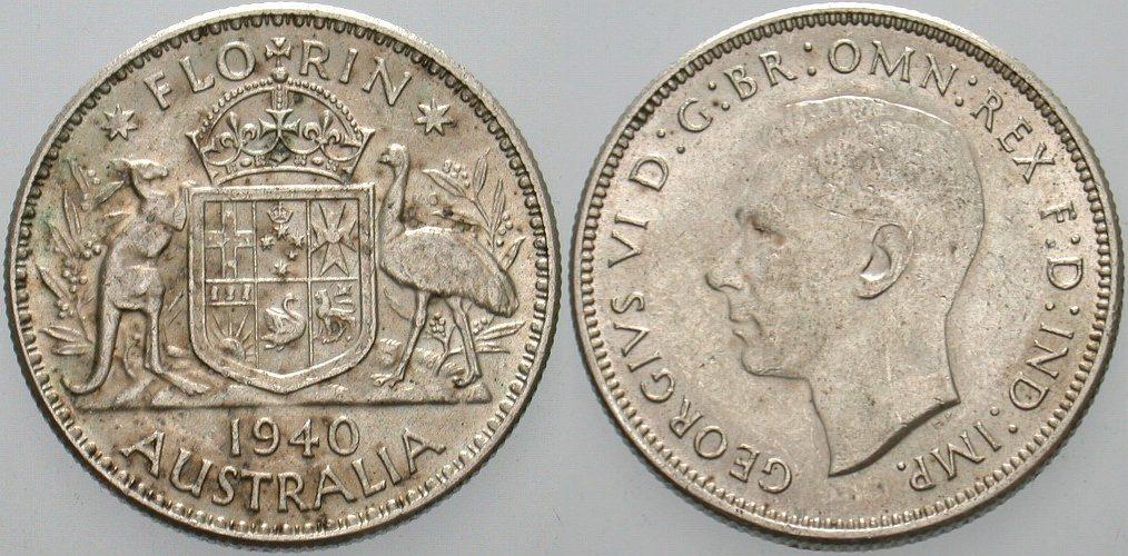 Florin 1940 Australien Georg VI. 1936-1952. Prägefrisches Exemplar, leicht fleckig