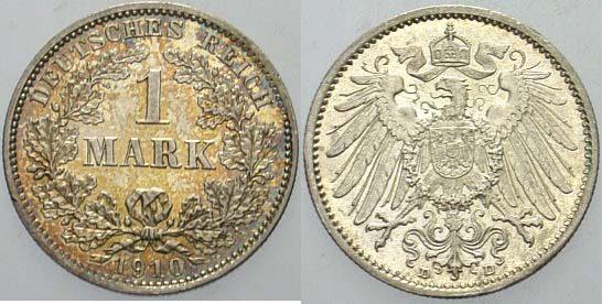 1 Mark 1910 D Kleinmünzen Patina, fast Stempelglanz