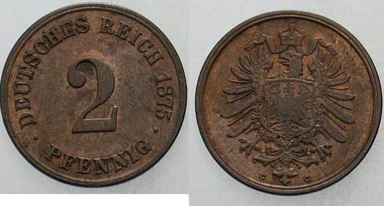 2 Pfennig 1875 C Kleinmünzen Patina, vorzüglich