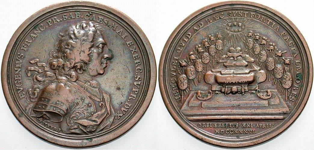 Medaille 1736 von Georg Wilhelm Ve Haus Habsburg Karl VI. 1711-1740 Sehr schön