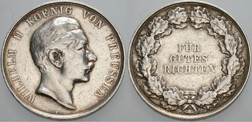 Silberne Richt-Preismedaille zu 4 1/2 Mark o.J. (1891-1893) Brandenburg-Preußen Wilhelm II. 1888-1918. Fast sehr schön