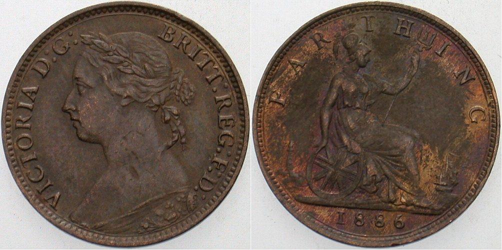 Farthing 1886 Großbritannien Victoria 1837-1901. Patina, vorzüglich +