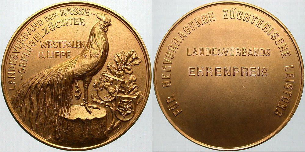 Vergoldete Bronzemedaille o.J. Landwirtschaft Vorzügliches Exemplar