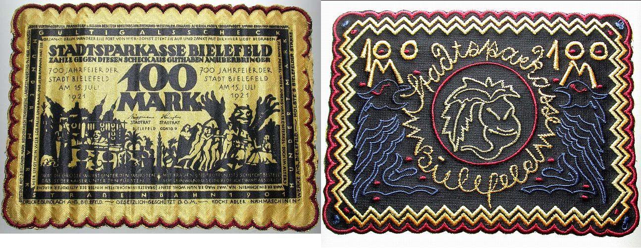 100 Mark 15.7.1921 Bielefeld Unsauberer Rand, sonst kassenfrisch
