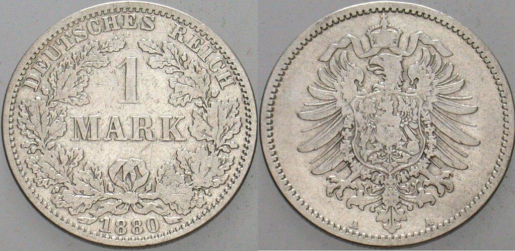 1 Mark 1880 A Kleinmünzen Schön - sehr schön