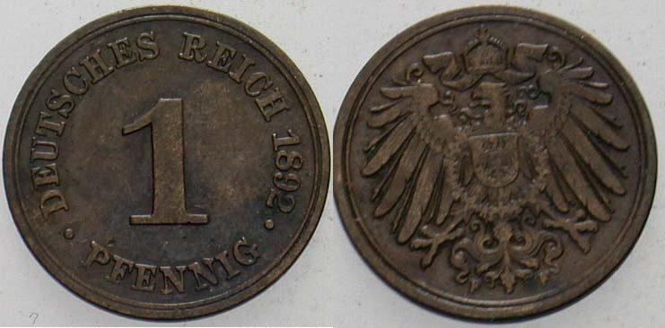 1 Pfennig 1892 F Kleinmünzen Sehr schön