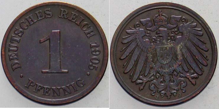 1 Pfennig 1905 J Kleinmünzen Sehr schön