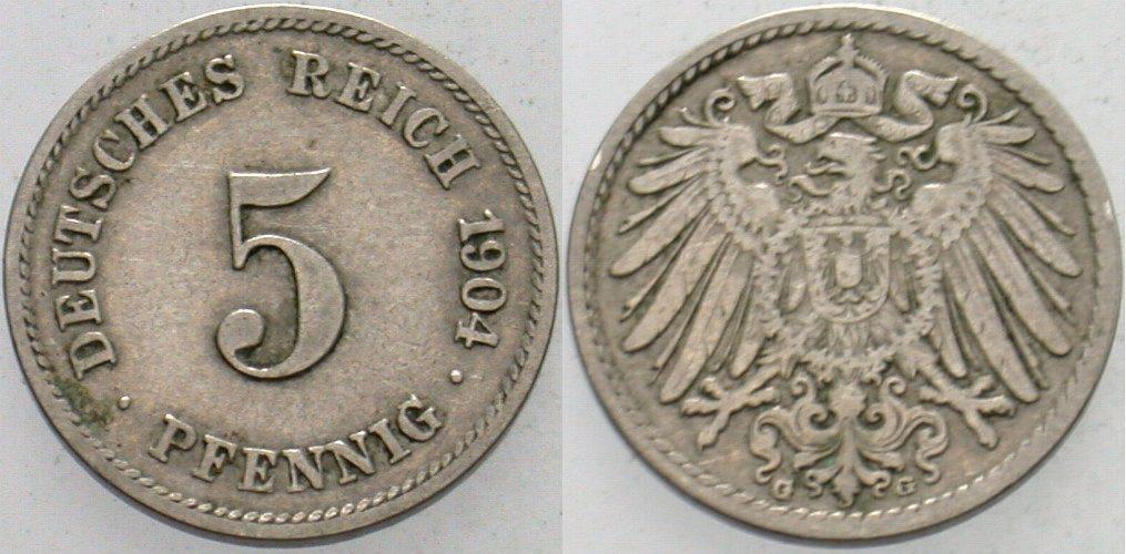 5 Pfennig 1904 G Kleinmünzen Sehr schön