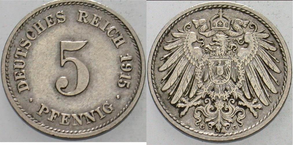 5 Pfennig 1915 G Kleinmünzen Sehr schön