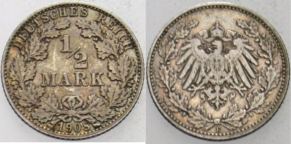 1/2 Mark 1908 E Kleinmünzen Sehr schön