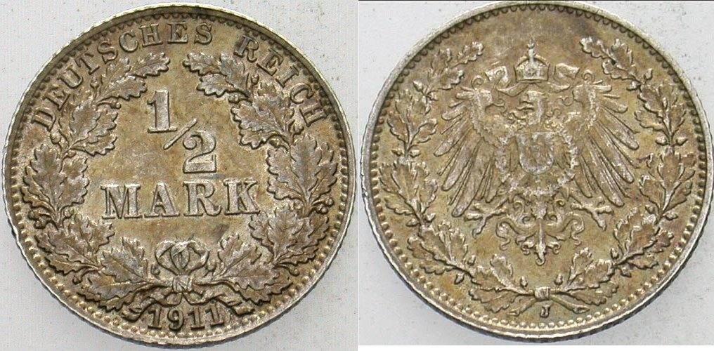 1/2 Mark 1911 J Kleinmünzen Patina, fast vorzüglich