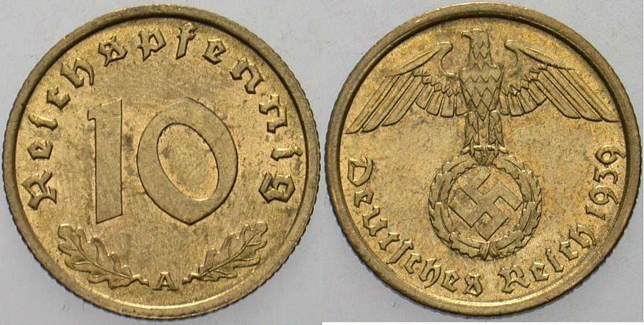 10 Reichspfennig 1939 A  Fast Stempelglanz