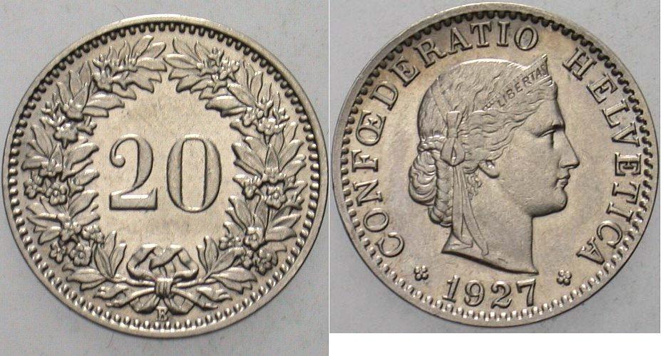 20 Rappen 1927 Schweiz-Eidgenossenschaft Vorzüglich