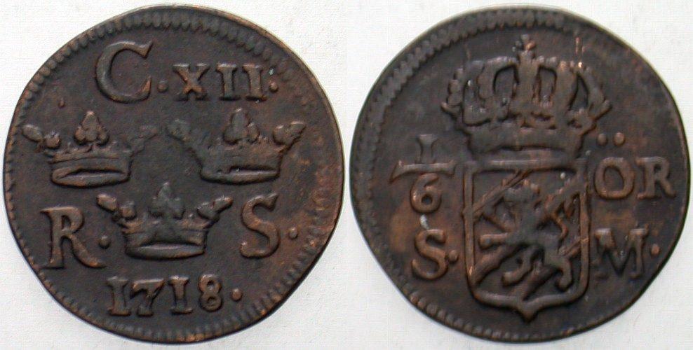 1/6 Öre 1697-1718 Schweden Carl XII., 1697-1718. Gutes sehr schön