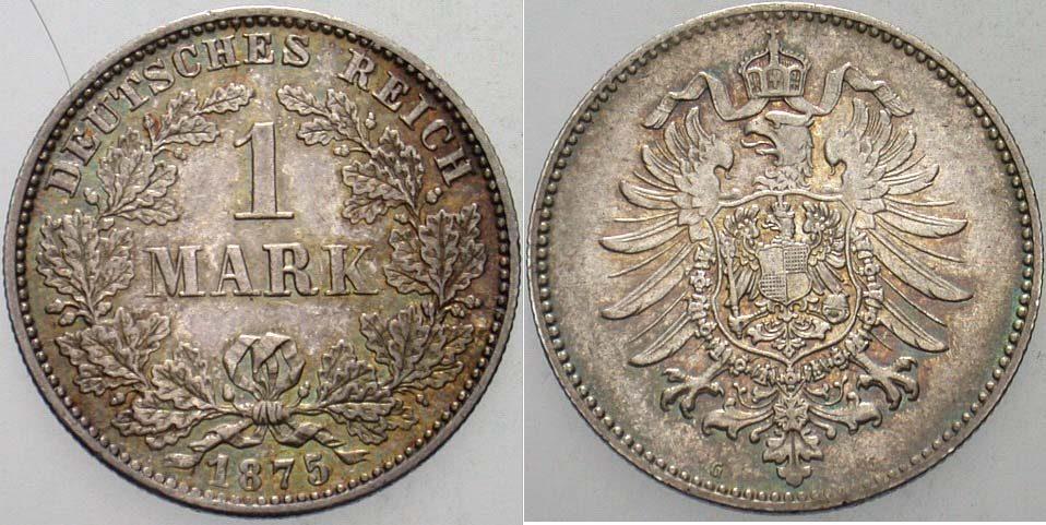1 Mark 1875 G Kleinmünzen Schöne Patina, vorzüglich - Stempelglanz