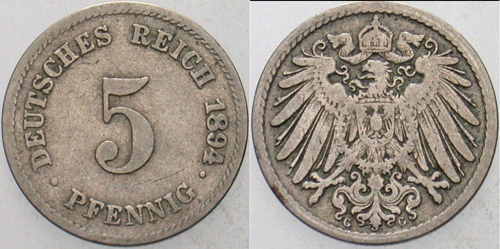 5 Pfennig 1894 G Kleinmünzen Schön - sehr schön