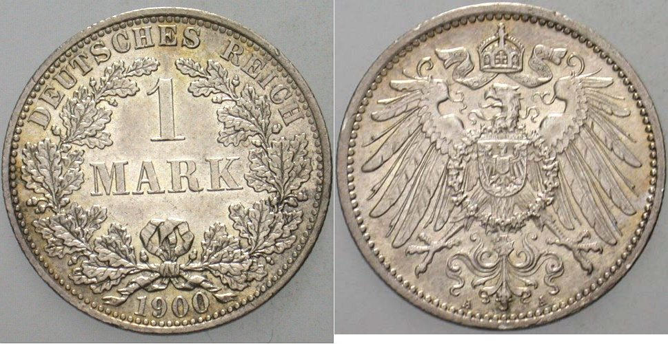 1 Mark 1900 A Kleinmünzen Patina, vorzüglich - Stempelglanz