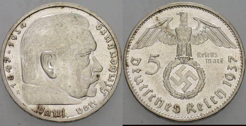 5 Reichsmark 1937 E Patina Fast Stempelglanz Ma Shops