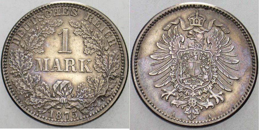 1 Mark 1875 A Kleinmünzen Min. Ber. Patina, vorzüglich
