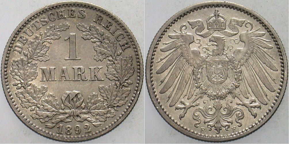 1 Mark 1892 F Kleinmünzen Patina, vorzüglich - Stempelglanz