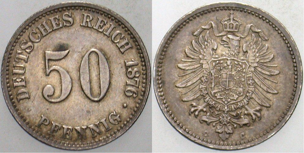 50 Pfennig 1876 C Kleinmünzen Patina, vorzüglich