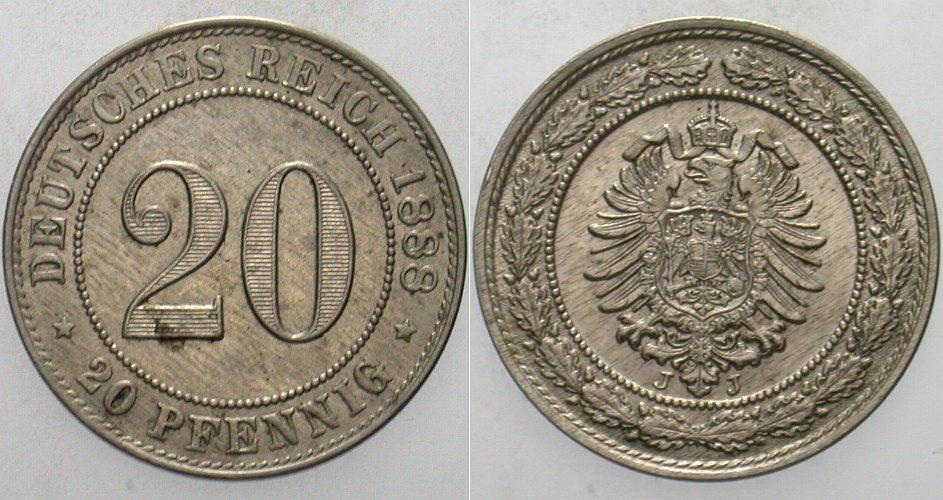 20 Pfennig 1888 J Kleinmünzen Patina, vorzüglich - Stempelglanz