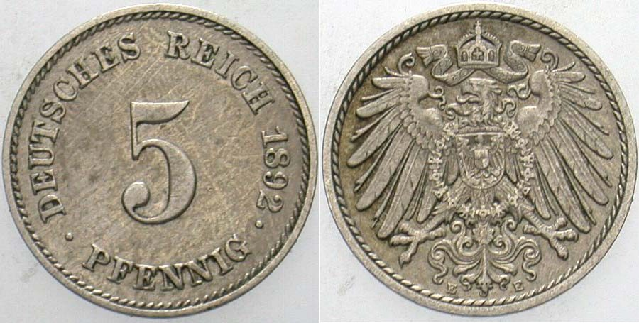 5 Pfennig 1892 E Kleinmünzen Patina, fast vorzüglich
