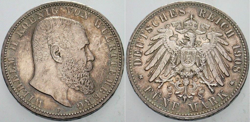 5 Mark 1908 Württemberg Wilhelm II. 1891-1918 Patina, winz. Kratzerm vorzüglich +