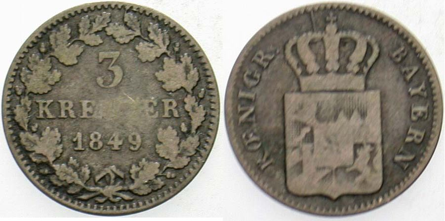 3 Kreuzer 1849 Bayern Ludwig I. 1825-1848 Schön - sehr schön