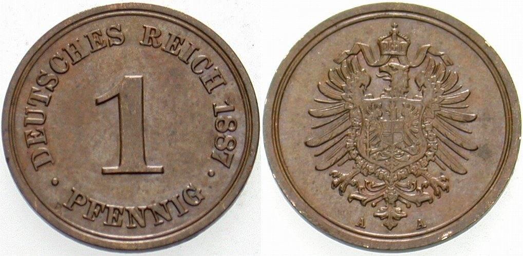 1 Pfennig 1887 A Kleinmünzen Winz. Druckstelle, sonst vorzüglich