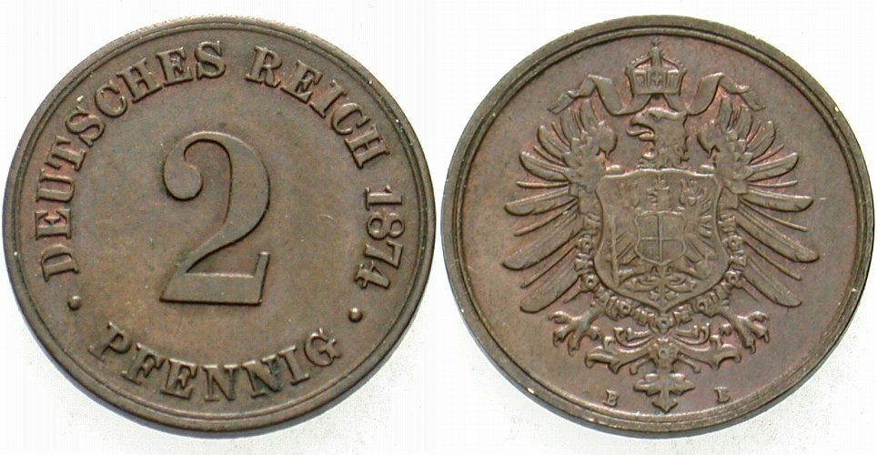 2 Pfennig 1874 B Kleinmünzen Patina, vorzüglich