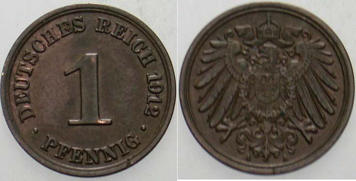 1 Pfennig 1912 A Kleinmünzen Patina, vorzüglich +