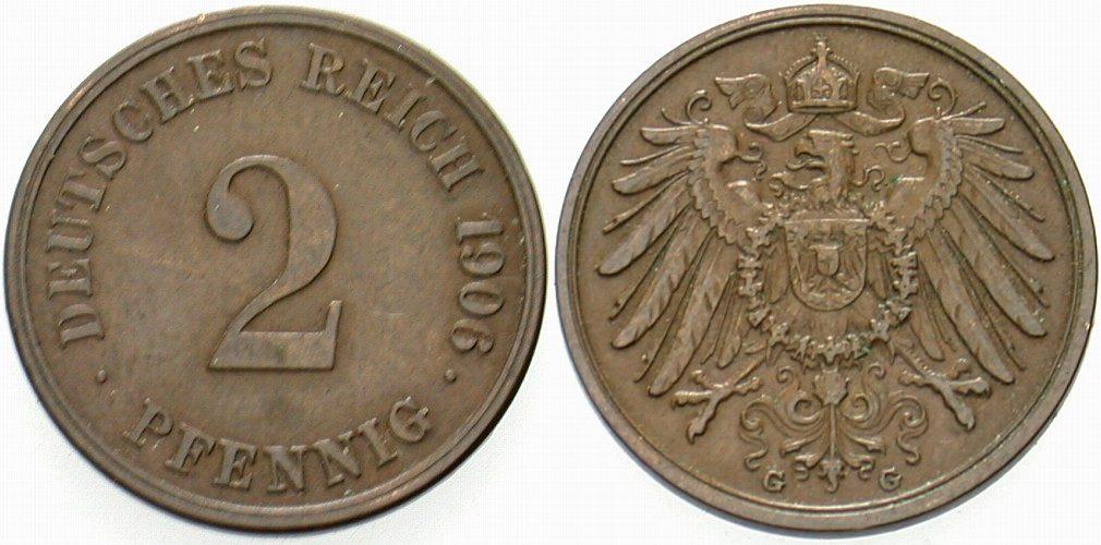 2 Pfennig 1906 G Kleinmünzen Sehr schön - vorzüglich