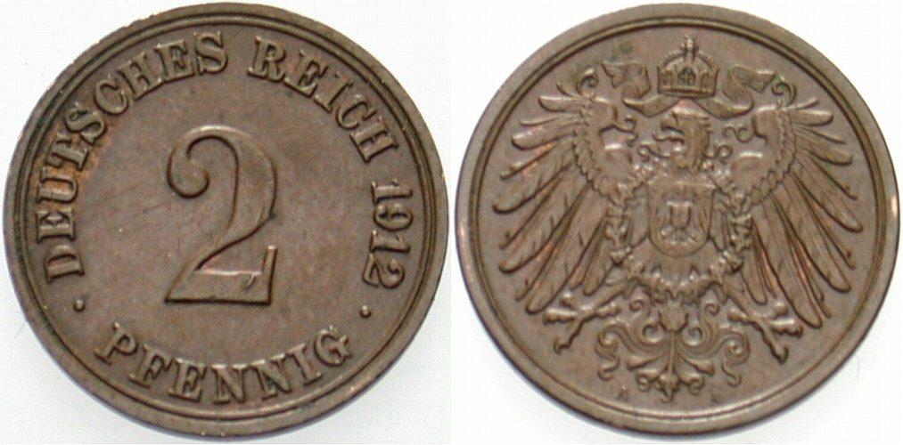2 Pfennig 1912 A Kleinmünzen Vorzüglich