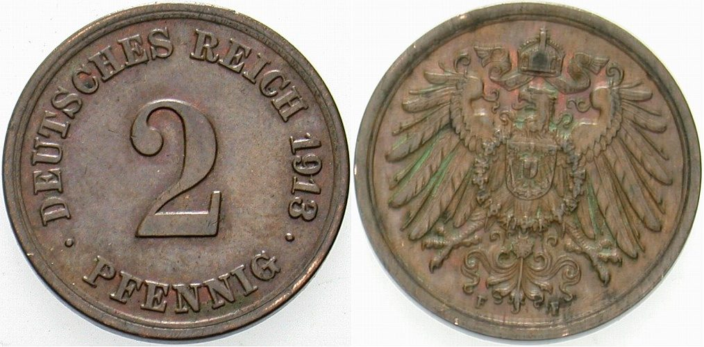 2 Pfennig 1913 F Kleinmünzen Vorzüglich