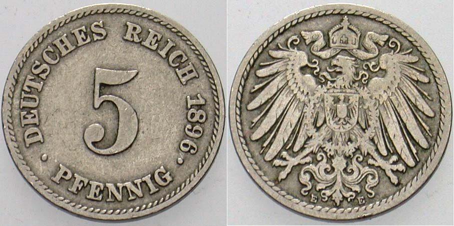5 Pfennig 1896 E Kleinmünzen Sehr schön