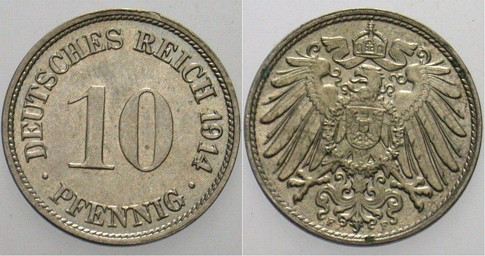 10 Pfennig 1914 F Kleinmünzen Winz. Randverprägung, fast Stempelglanz