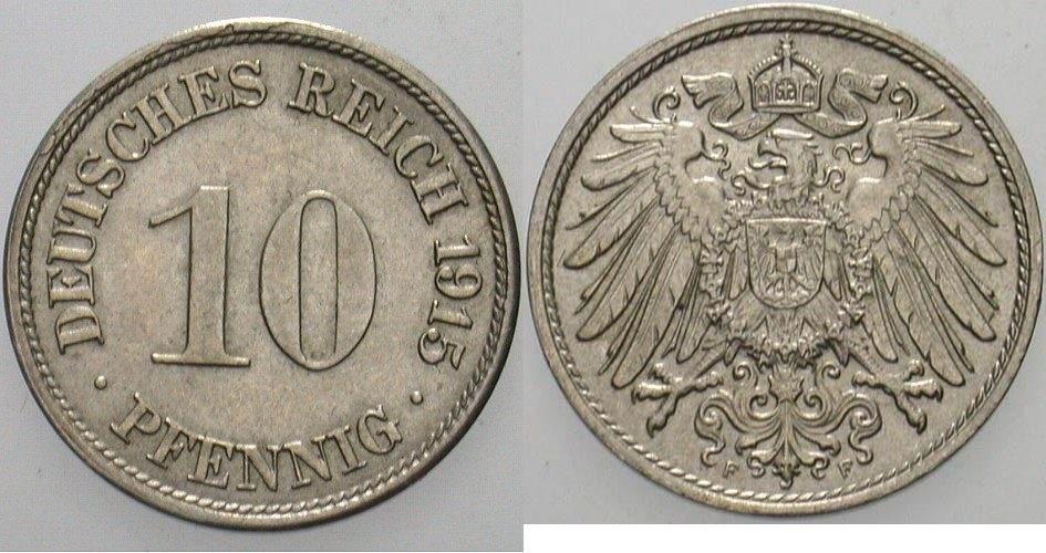 10 Pfennig 1915 F Kleinmünzen Vorzüglich +