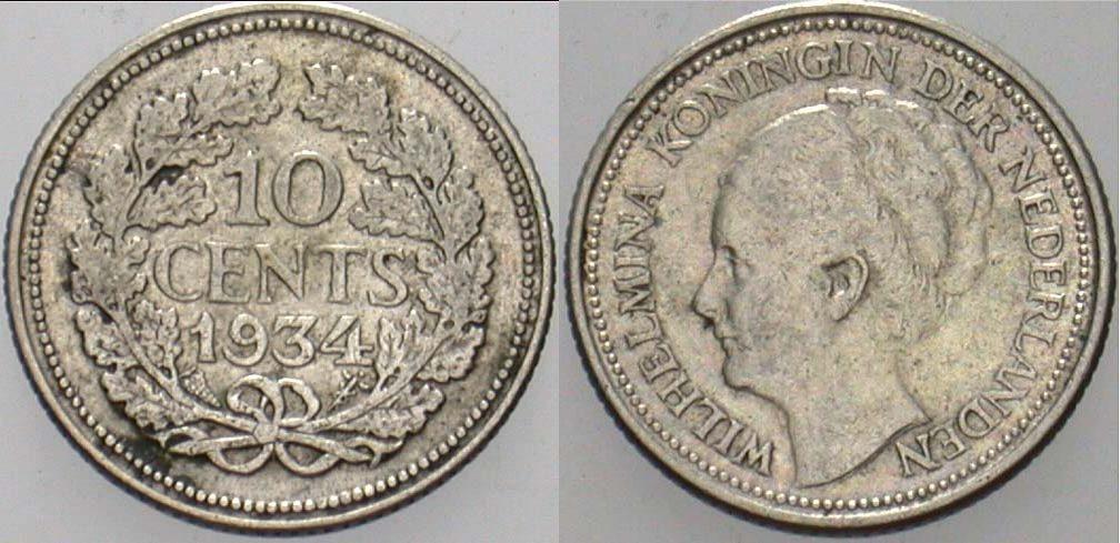 10 Cent 1934 Niederlande-Königreich Wilhelmina I. 1890-1948. Sehr schön