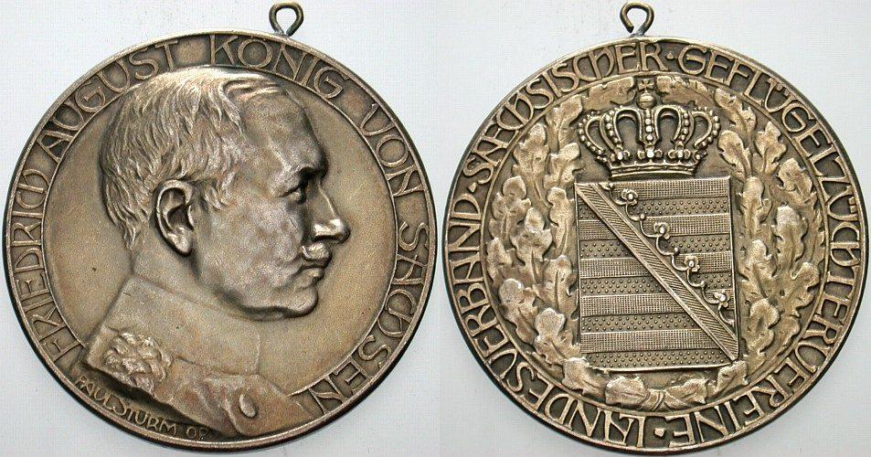 Silbermedaille ohne Jahr Sachsen-Albertinische Linie Friedrich August III. 1904-1918. Gehenkeltes vorzügliches Exemplar