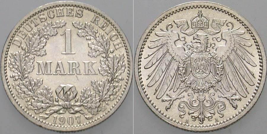 1 Mark 1907 A Kleinmünzen Fast Stempelglanz