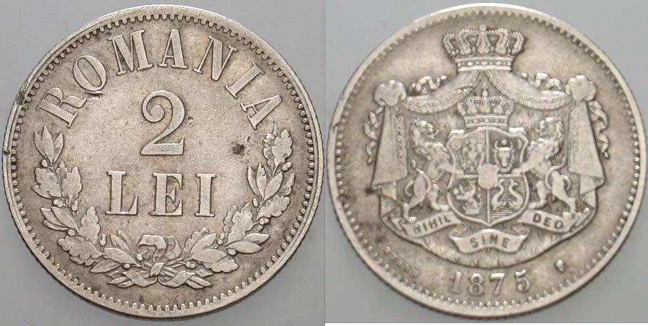 2 Lei 1875 Rumänien Karl I., 1866-1914 Winz. Randfehler, sehr schön
