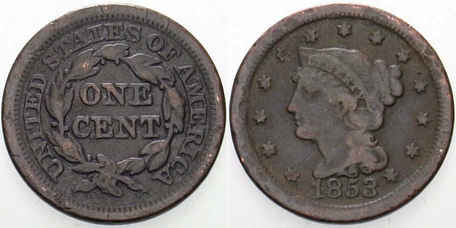 Cent 1853 Vereinigte Staaten von Amerika Kl. Randfehler, schön