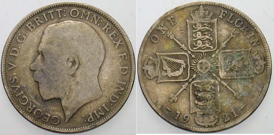 Florin/Two Shillings 1921 Großbritannien George V. 1910-1936. Patina, fast sehr schön