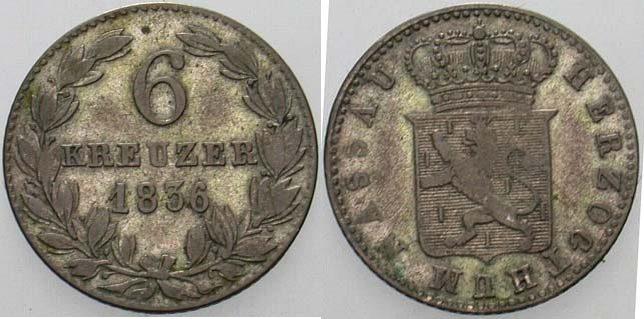 6 Kreuzer 1836 Nassau Wilhelm 1816-1839 Sehr schön