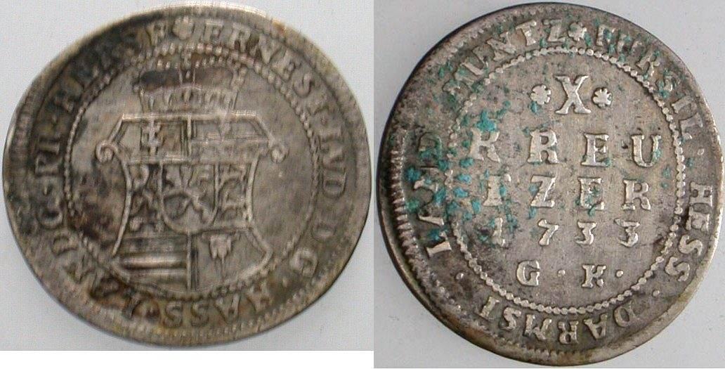 10 Kreuzer 1733 Hessen-Darmstadt Ernst Ludwig 1678-1739. Etwas Belag, schön - sehr schön