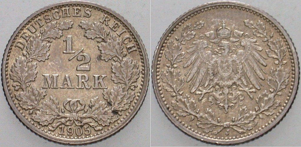 1/2 Mark 1905 J Kleinmünzen Sehr schön - vorzüglich